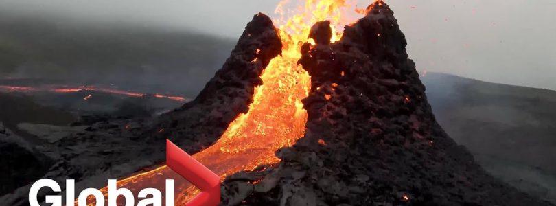 vídeo del volcán grabado con un dron en Islandia